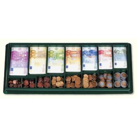 Monnaie euros - pièces et billets dans un organiseur